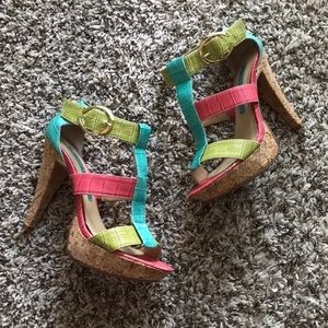 Chinese Laundry Bright Strappy Heels size 6 1/2